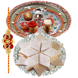Fabulous One Rakhi with Designer Thali and Badam Katli with Fond Affection