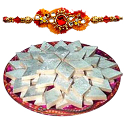 Mouth-Watering Badam Katli from Haldiram with Rakhi for Celebration