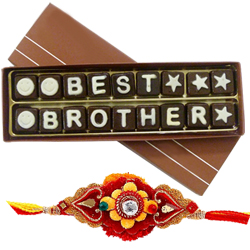 Exciting American Diamond Rakhi with Kids Special Best Brother Chocolate for Celebration