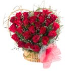 Striking Heart Shaped Arrangement of 24 Red Roses